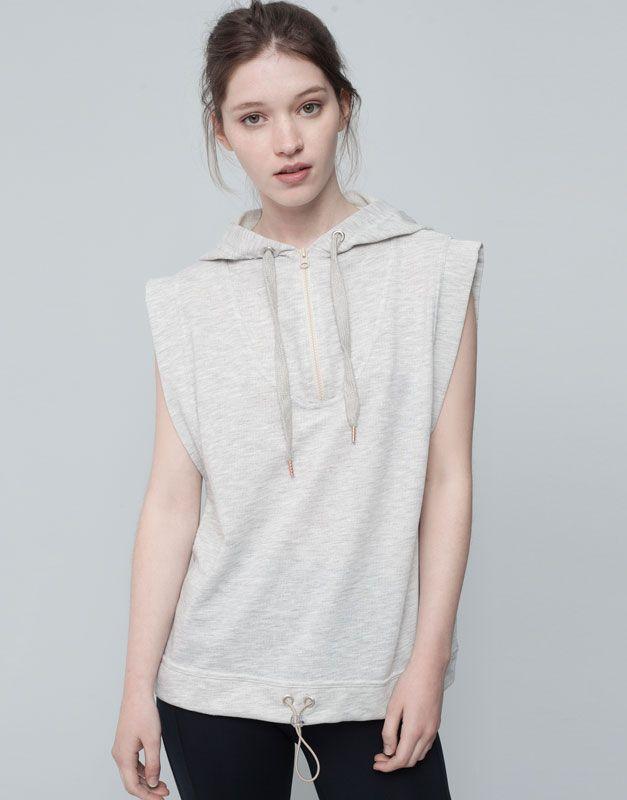 Pull&Bear - woman - gymwear - sleevless sweatshirt - grey marl - 09775303-I2015