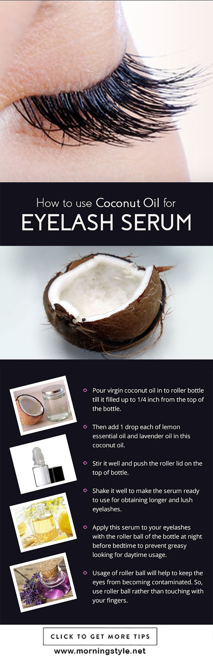 Coconut Oil for Eyelashes – Benefits and How to Use It | Healthy Society. coconut oil uses | coconut oil hair mask | coconut oil | coconut oil uses for hair | coconut oil hair | Coconut Oil for Health | Coconut Oil Tips | Skinny Coconut Oil |