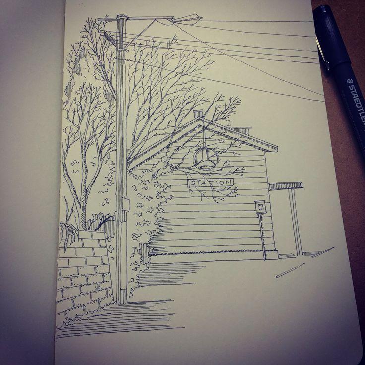 10.6.15 Daily Sketch- Station Restaurant #sketch #ink #art #Staedtler #moleskine