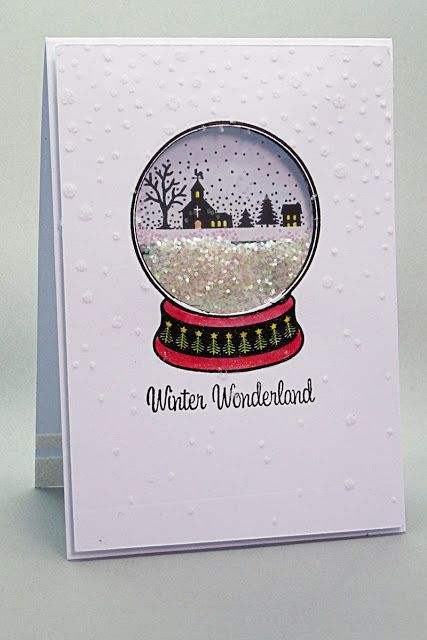 Snow-globe Christmas shaker card, made with stamp set from Simply Cards & Papercraft magazine, issue, 142.