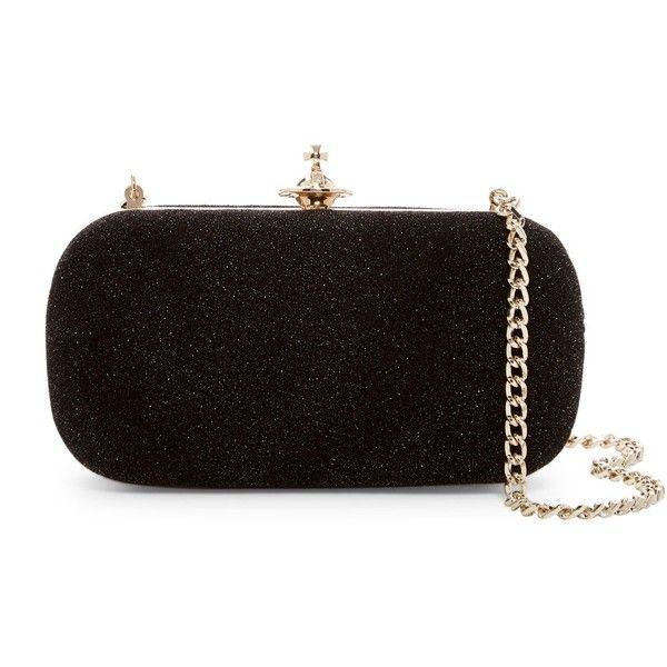 Vivienne Westwood Medium Angel Leather Clutch found on Polyvore featuring bags, handbags, clutches, black, 100 leather handbags, leather purses, vivienne westwood purse, genuine leather purse and chain strap handbags
