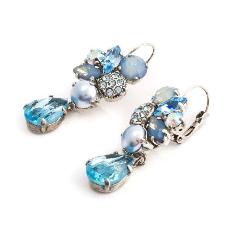 Moliere Paris Opvallende blauwe oorbellen met Swarovski Elements kristallen en parels