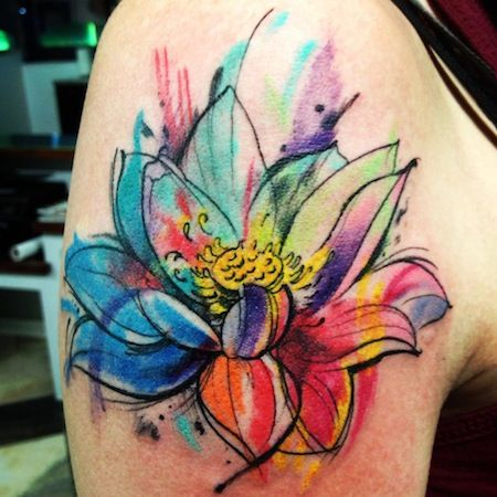 Very vibrant watercolor tattoo design of a beautiful lotus flower
