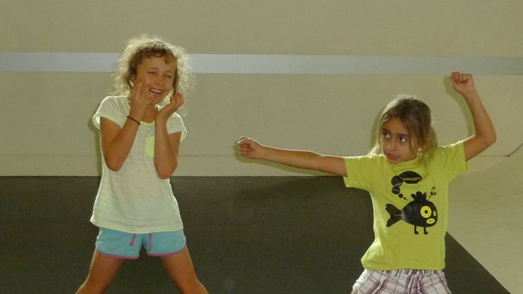 Youth Theatre ages 5 - 7. Two of our students working on showing emotions with the body
