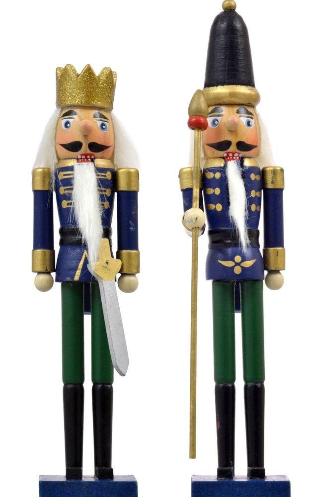 "Wooden Nutcracker Soldier Figurine Ornaments Decor 8""-9"" Tall (2 Piece Bundle)  #ChristmasHouse"