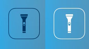 Control Centre iOS 7 - The on/off switch of the flashlight icon changes based on whether or not the actual flashlight is on or off. /via Chris