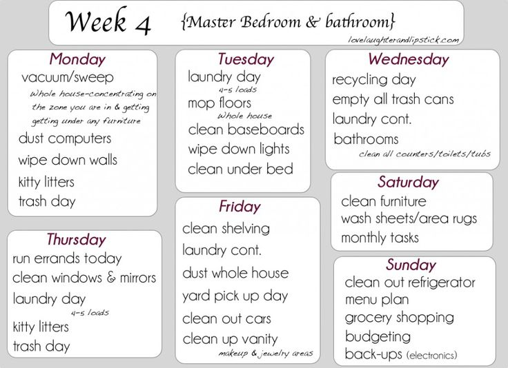 Detailed Cleaning List Week 4 Printable Cleaning List