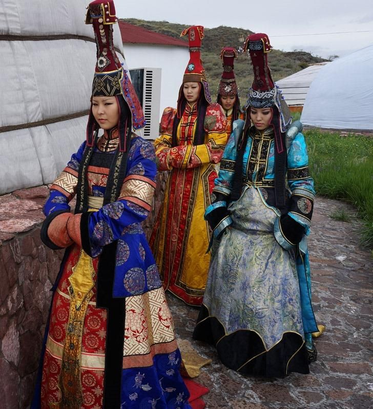 Tuvan girls in their national costumes.