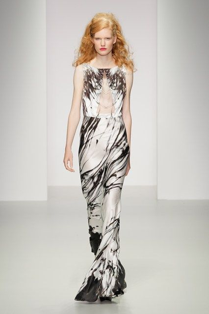 Maria Grachvogel SS14, printed silk column dress, marbled.