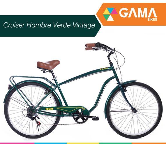 Llantas de aluminio, cambios SHIMANO, revisa más de Cruiser Hombre Verde Vintage acá: gamabikes.com #semanagamahombres