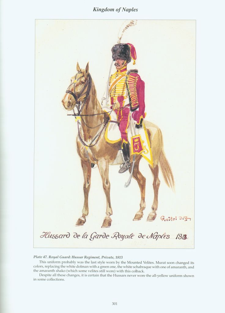 Kingdom of Naples: Plate 47. Royal Guard: Hussar Regiment, Private, 1813.