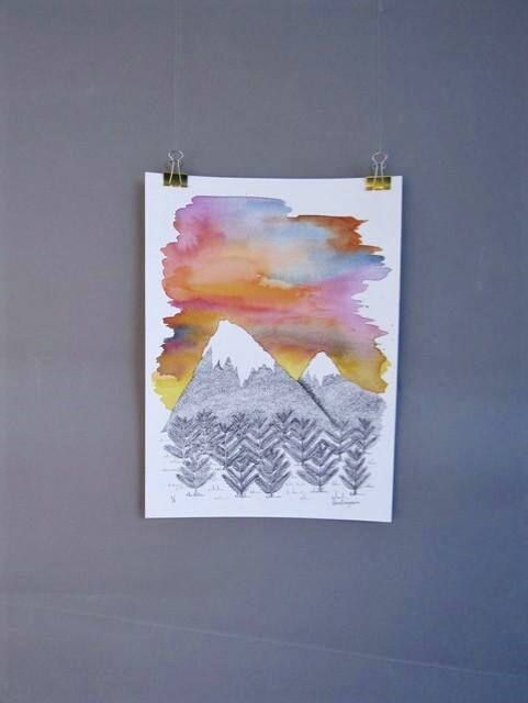Original Art || Sunset Watercolour || Painting || Mountain art ||  Illustration || Irish Artist || Mountain Drawing || Mountain Landscape ||  All Rights Reserved CorinaFitzgibbonArt ©