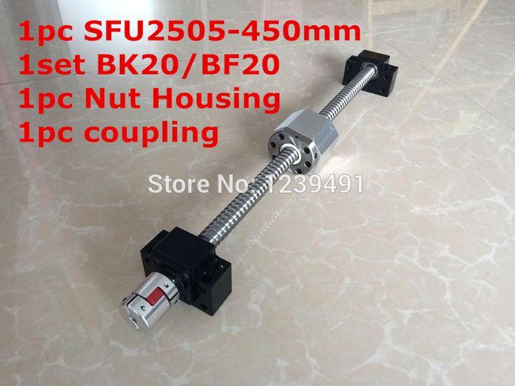 SFU2505-450mm Ballscrew with Ballnut + BK20/ BF20 Support + 2505 Nut Housing +  17mm* 14mm  Coupling CNC parts