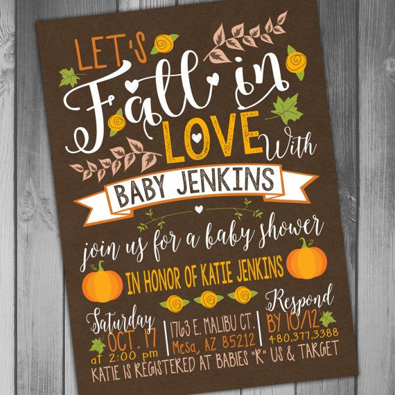 This listing is for the above Fall Baby Shower Invitation You can purchase the digital file only or have me print the invitations for you  Need matching items? Get them here:  Whats In Your Purse Game: https://www.etsy.com/listing/249532185/baby-shower-fall-baby-fall-in-whats-in?ref=shop_home_active_1  Diaper Raffle Ticket: https://www.etsy.com/listing/249613596/baby-shower-diaper-raffle-fall-baby-fall?ref=shop_home_active_8  Books For Baby Insert…