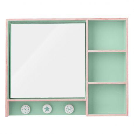 Miroir et Rangement turquoise @bloomingville Make-Up - Accessoire de salle de bain - mobilier en bois