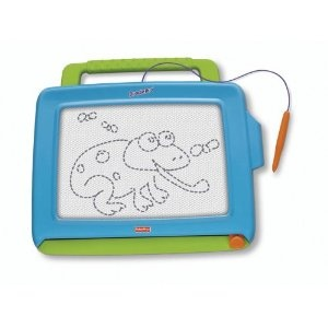 "Picked up this Fisher Price ""magnadoodle"" for the little dude to pass the time away while chillin' in the highchair. He LOVES drawing!!!"