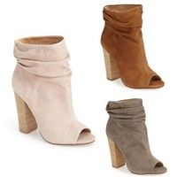 Wish | Women Fashion Vintage Casual Peep Toe High Heels Short Ankle Boots Sexy Slouch Booties