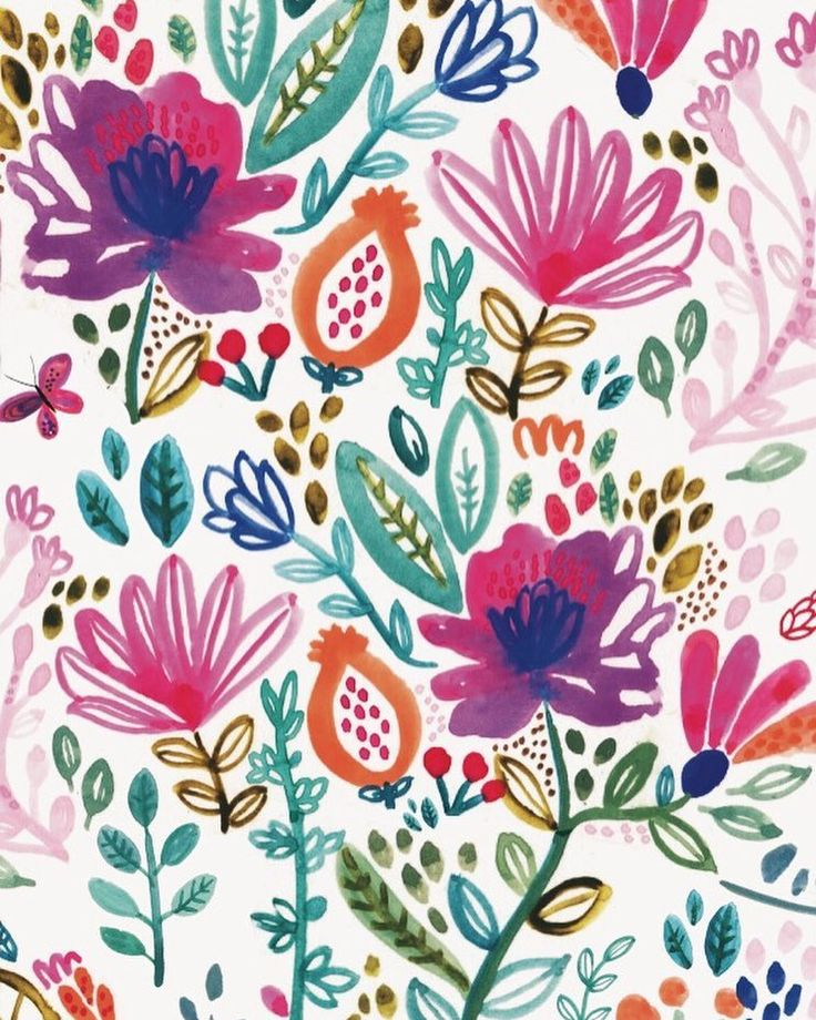 Bright and colourful for this apparent 'blue Monday' . . . . . . #rosieharbottle #illustration #printpattern #pattern #colour #floral #watercolour #botanical #bluemonday #flowers #darlingmovement #thatsdarling #handpainted #folk #boho #jungalowstyle