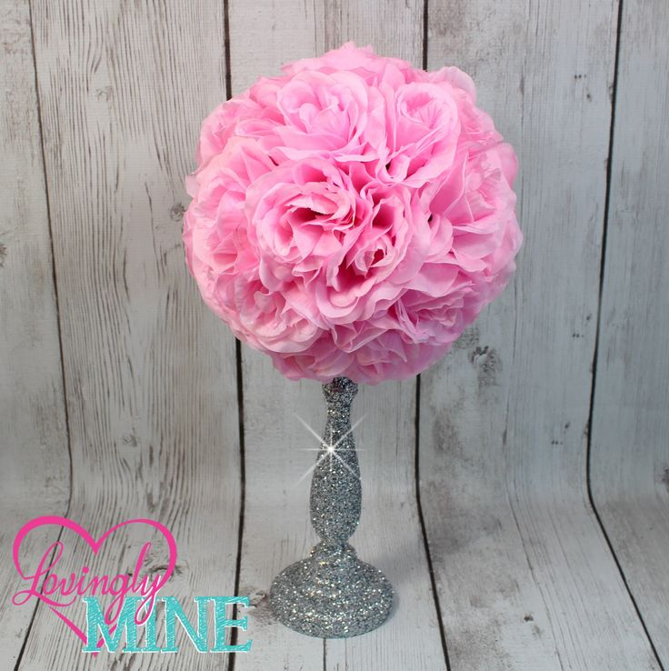 Centerpiece Pink Rose Pomander Glitter Silver Vase - Royal Baby Shower, Birthday, Wedding, Bridal Shower Centerpiece by LovinglyMine on Etsy ... Disney Princess Party, Royal Birthday Party, First Birthday Party Decorations