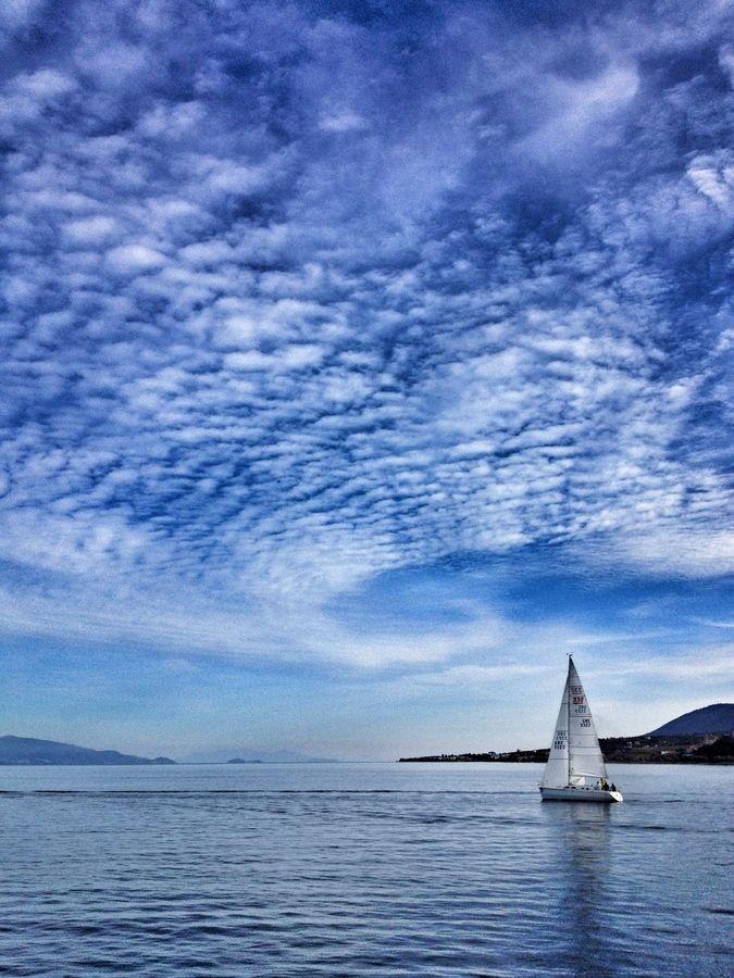 Sailing off Mytilini, Lesvos, Greece