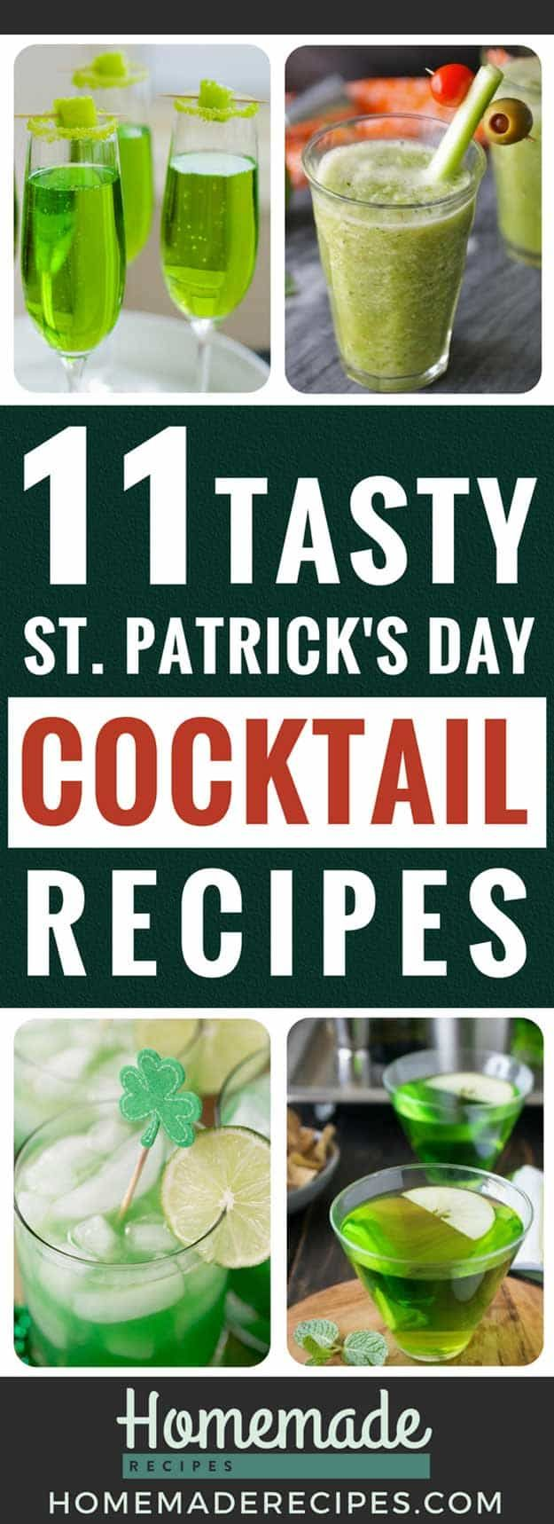 11 Cocktail Recipes For St. Patrick's Day   https://homemaderecipes.com/11-cocktail-recipes-st-patricks-day/
