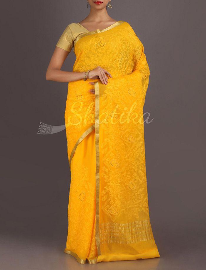 Kripa Luscious Yellow Full Embroidered Pure #MysoreChiffonSaree