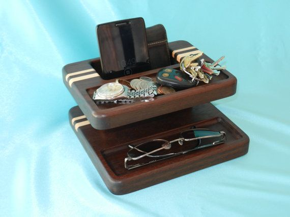 Mens Valet designed and built by me to provide an easy place for men to store their personal items such as watch, rings, coins, wallet, and smartphone.