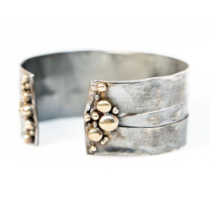 Continental Divide Adjustable Bracelet- Sterling Silver Fold Form Organic Bronze Pebble Adjustable Versatile Cuff by Union Studio Metals