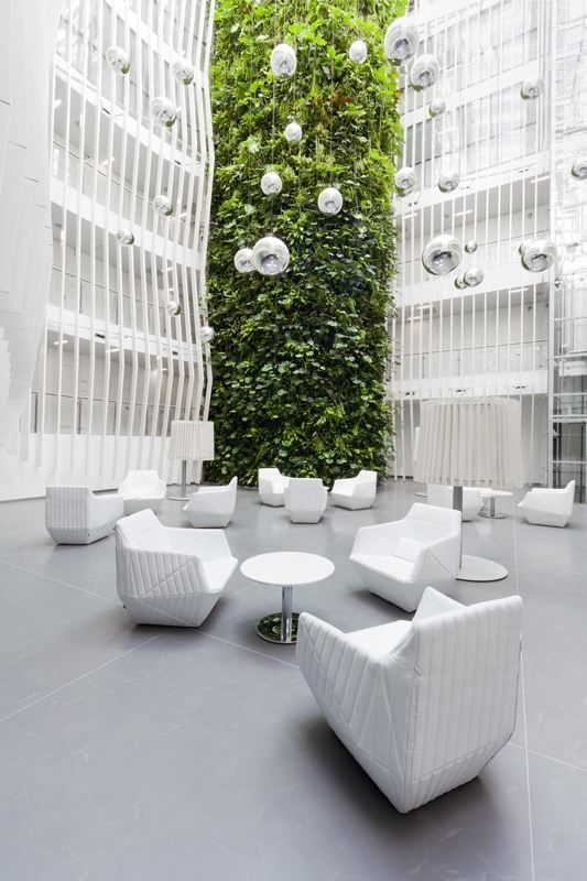 Great idea for a wedding ceremony location. Gorgeous open shade lighting. Also amazing looking for outdoor reception too. KKCG office building reconstruction Prague / Czech Rep. / 2012  #hotelinteriordesigns