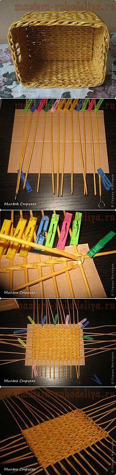 Мастера рукоделия - рукоделие для дома. Бесплатные мастер-классы, фото и видео уроки - Мастер-класс по плетению из газет: Прямоугольное дно