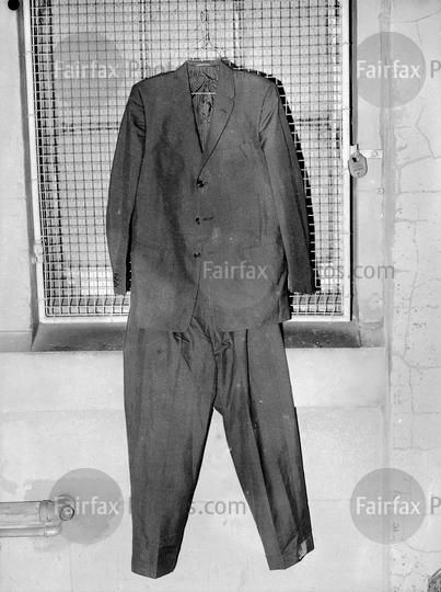 The suit worn by Dr Bogle on the night of his apparent murder is held as evidence, May 1963.   SMH photo