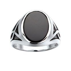 Sterling Silver Onyx Ring with black rhodium accent detail. Finger size 8 / Mens Jewelry  Site: Project Fellowship