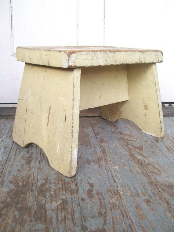 Chippy Old Farmhouse Kitchen Pantry Wood Step by RecycleBuyVintage