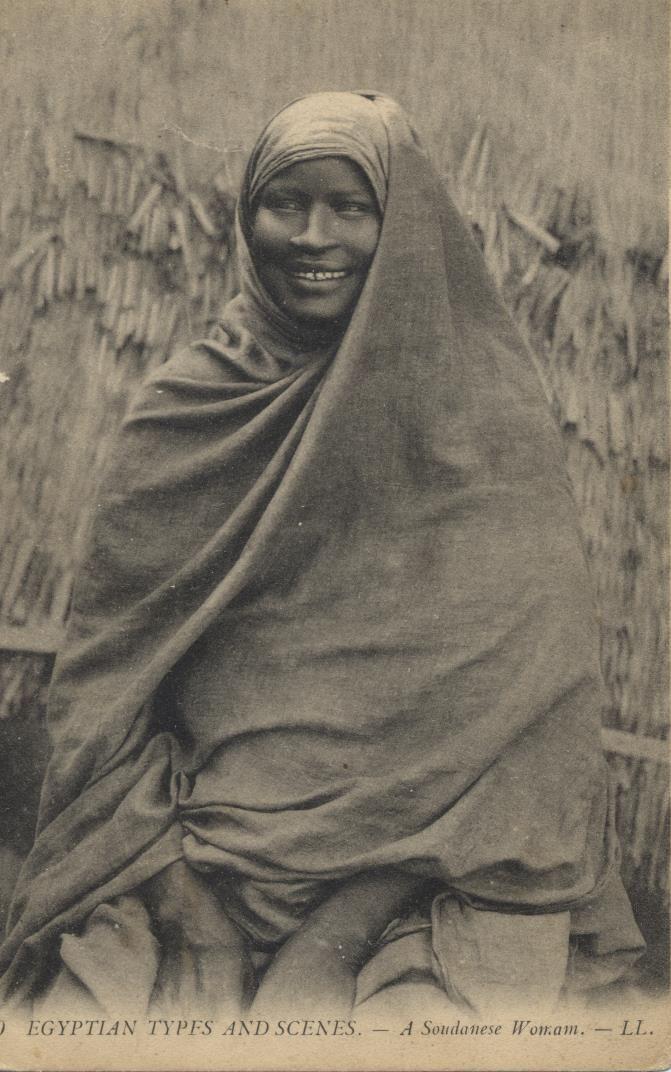 50 EGYPTIAN TYPES AND SCENES. - A Soudanese Womam. - LL. 50 SCENES ET TYPES D'EGYPTE. - Jeune femme Soudanaise. - LL.