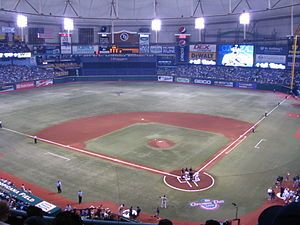 Tropicana Field, Tampa Bay Rays. I hope they get a new stadium before I have to visit this abomination.