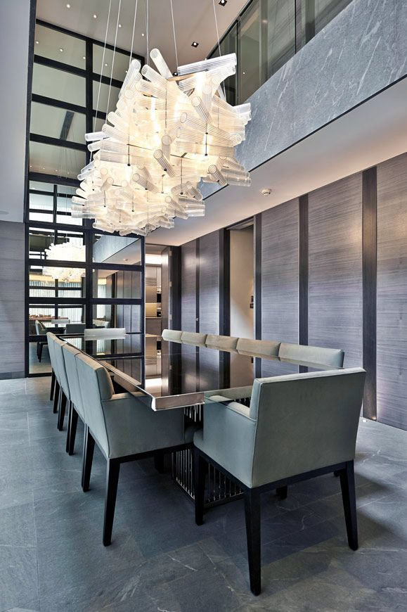 soft greys | formal contemporary dining room || MAYFAIR HOUSE (PART 1) | Bill Bennette Design Limited