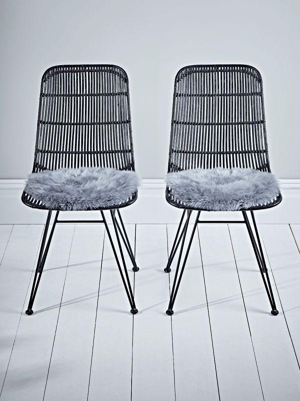 Sumptuous Sheepskin Seat Pad - Grey - Luxury Cushions - Home Textiles