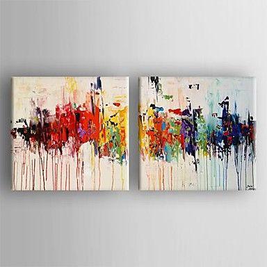 HANDMÅLAD Abstrakt Två paneler Kanvas Hang målad oljemålning For Hem-dekoration