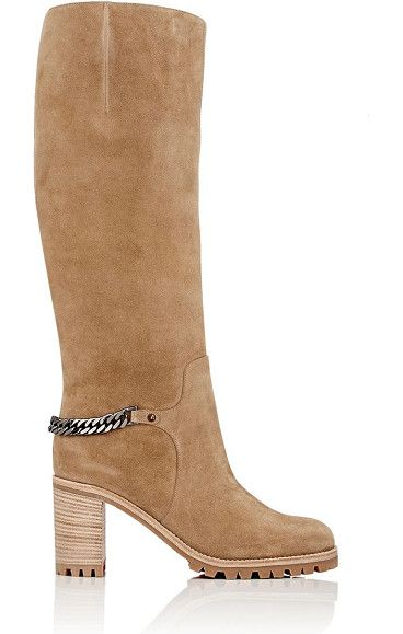 Napoleo suede knee boots-tan by Christian Louboutin. Crafted of camel suede, Christian Louboutin's Napoleo knee boots are styled with a gunmetal-tone curb-chain strap and...
