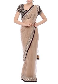 Oyster swarovski embroidery sari with blouse