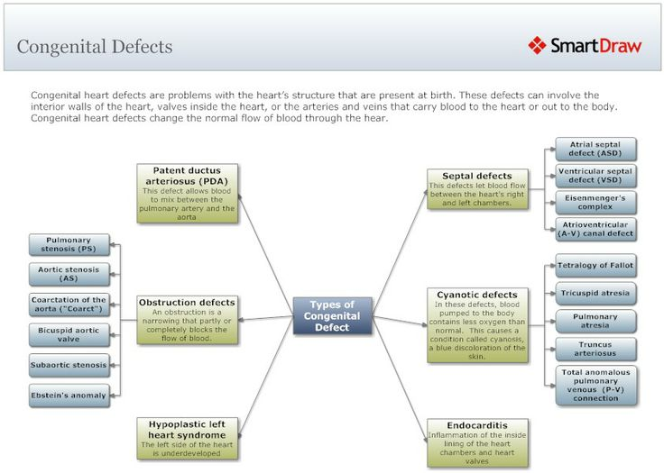 Mind Map Of Types Of Congenital Heart Defect Example