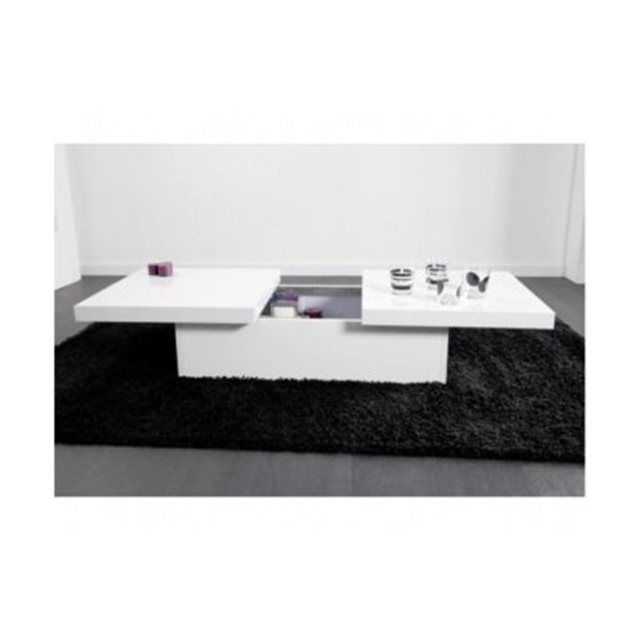 Table basse blanche 2 plateaux coulissants TRIANGE Declikdeco | La Redoute Mobile