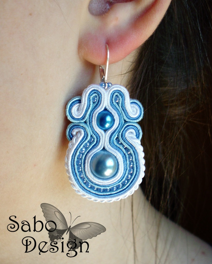 Zarcillos - SoutacheSoutache Jewelry, Accessories, Blue, Pendientes Soutache, Earrings White, Beautiful Soutache, Soutache Earrings, Jewelry, Bijoux Soutache