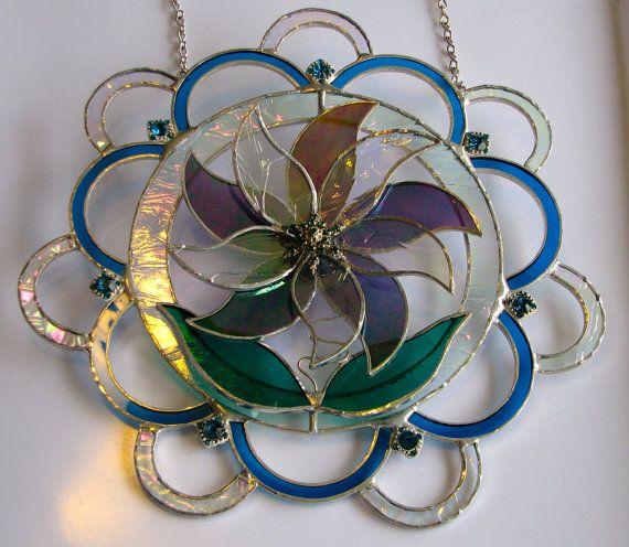 Stained Glass Suncatcher Flower Window by BayCreationsbyWendy, $80.00