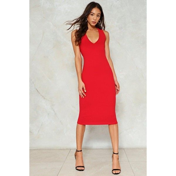 Nasty Gal Jumpin' Jumpin' Bodycon Dress (€31) ❤ liked on Polyvore featuring dresses, red, open back cocktail dress, bodycon cocktail dresses, body con dresses, v neck bodycon dress and red midi dress