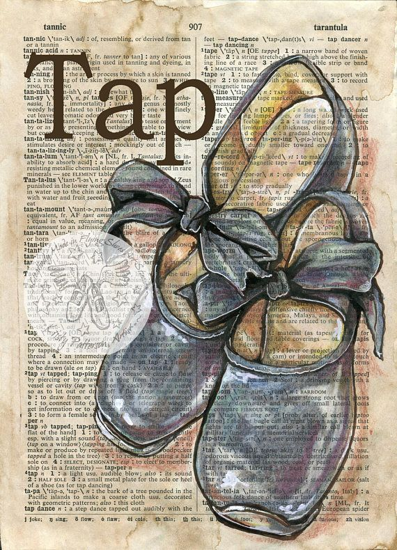 Print Tap Shoes Mixed Media Drawing On Antique Dictionary Page Shoe Art Dancing Drawings