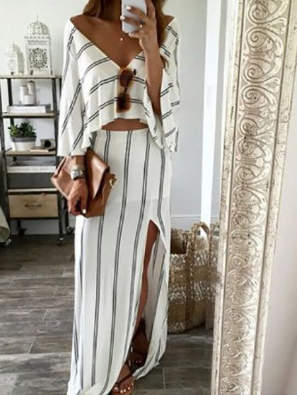Sexy Deep V Neck Open Back Stripped Dress