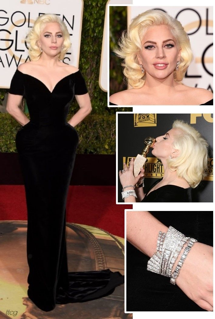 Lady Gaga at the 2016 Golden Globes in Atelier Versace