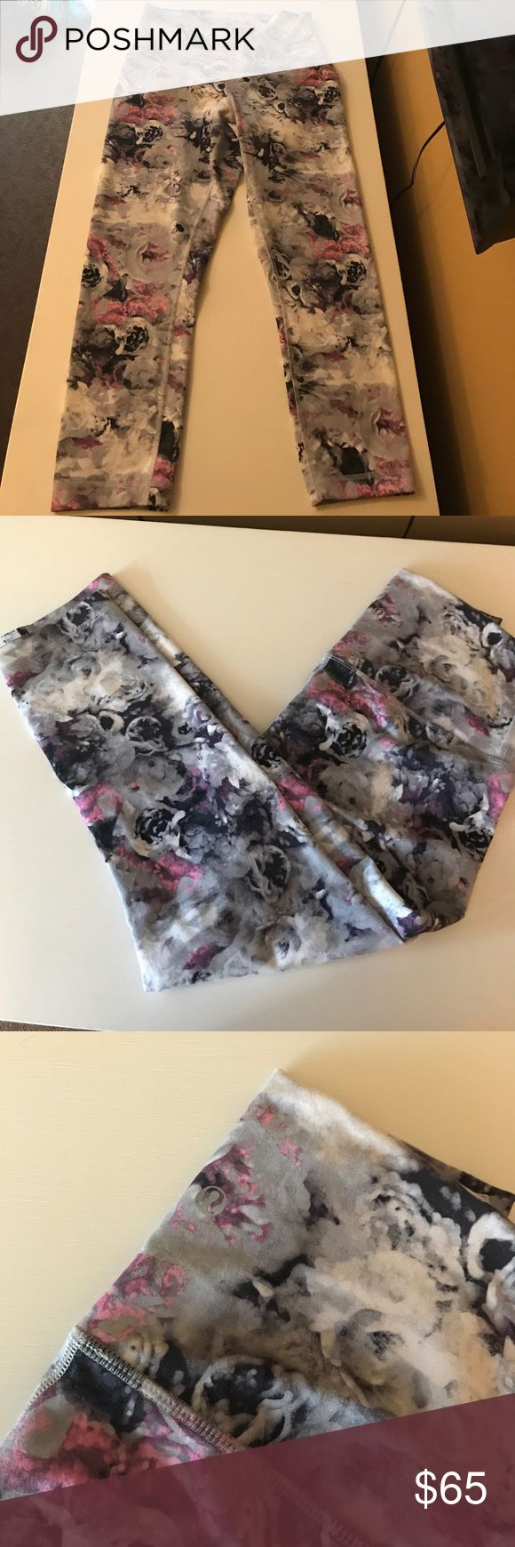 Lululemon crop legging multi color flower print Lululemon high rise crop legging pink/gray/white/black  flower pattern print similar to— https://shop.lululemon.com/p/women-crops/Wunder-Under-Hi-Rise-Half-Tight/_/prod8555494?color=30553 lululemon athletica Pants Leggings