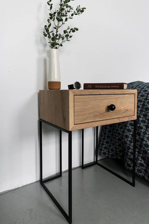 Massief Houten Nachtkastjes.Industrial Bedside Table Mid Century Industrial Style Solid Oak